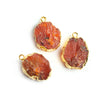 19.5x14mm-21x14.5mm Gold Leafed Carnelian Hammer Faceted Focal Pendant 1 piece