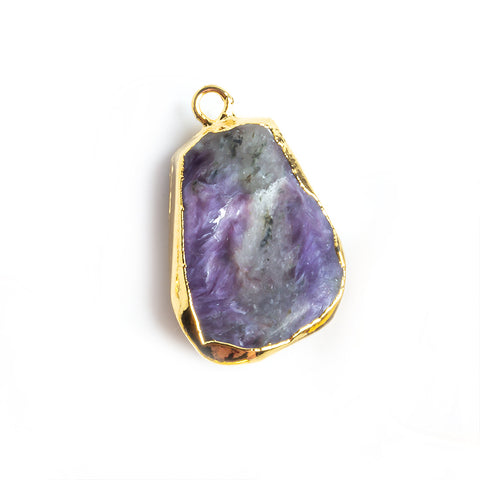 19.5x12mm-25x13.5mm Gold Leafed Charoite Focal Pendant 1 piece