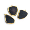 23x20mm-30x21mm Gold Leafed Black Agate Focal Pendant 1 piece