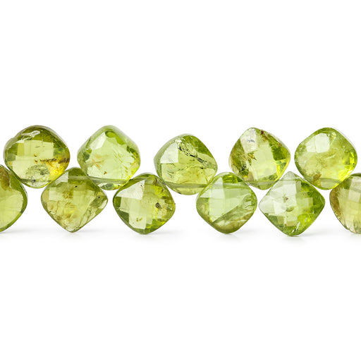 8-9mm Peridot Corner Drilled Faceted Pillow Beads 42 beads 8 inch