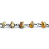 6.5x4mm-10.5x6mm Ethiopian Opal Chip Bead Black Gold Chain by the Foot 34 beads