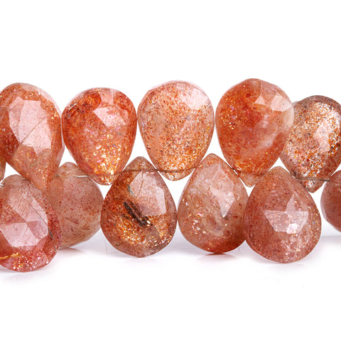 Sunstone Faceted Pear Beads 7.5 inch 40 pieces