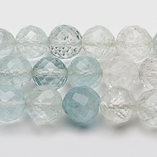 6-10mm Shaded Aquamarine Faceted Round Beads 15 inch 50 pieces