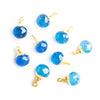 13x8mm-14x9mm Gold Leafed Santorini Blue Chalcedony Faceted Candy Kiss Focal Pendant - Lot of 9