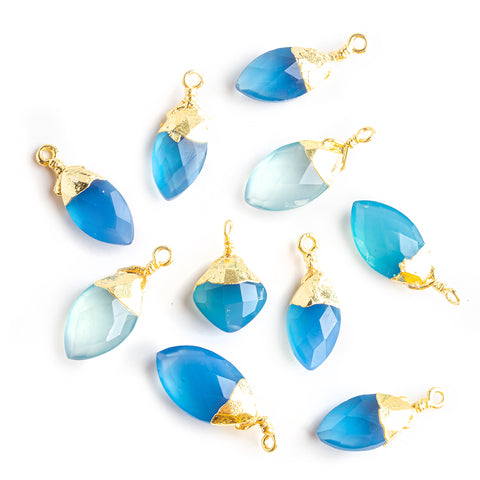 18x7mm-20x9mm Gold Leafed Santorini Blue Chalcedony Faceted Marquise Focal Pendant - Lot of 10
