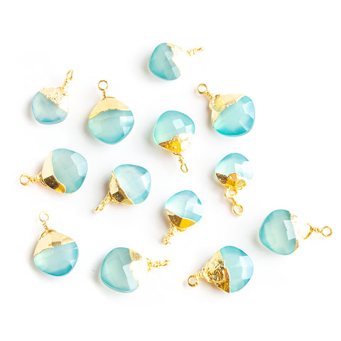 14x9mm-15.5x11m Gold Leafed Seafoam Blue Chalcedony Faceted Pillow Focal Pendant 1 Piece - Lot of 13