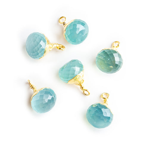 13x9mm Gold Leafed Seafoam Blue Chalcedony Faceted Candy Kiss Focal Pendant - Lot of 6