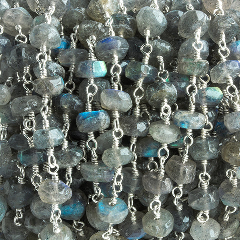 6mm-7mm Labradorite Faceted Rondelle Silver Chain by the Foot 30 pieces