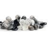17x13.5mm-24x14mm Black Tourmalinated Quartz Plain Pear Beads 9 inch 42 pieces