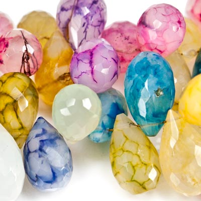 "Multi-Color Crackle Chalcedony Beads Faceted 12x8-19x11mm Teardrop, 15"" length, 42 pcs"