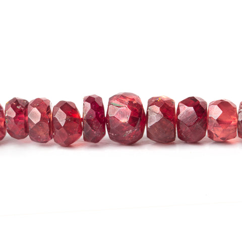 Candy Apple Red Spinel faceted rondelles 16 inch 185 beads 3mm - 5mm