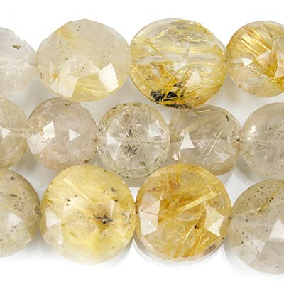 "Golden Rutilated Quartz Faceted Coin Beads, 8"" length, 7-10mm dia, 22 pcs"