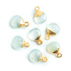 8mm Gold Leafed Sea Green Chalcedony Faceted Heart Focal Pendant 1 Piece