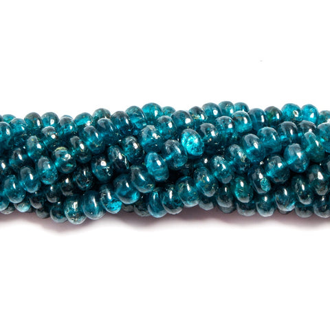 4-7mm Neon Blue Apatite plain rondelle beads 16 inches 129 pieces