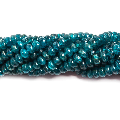 4-5mm Neon Blue Apatite plain rondelle beads 16 inches 143 pieces