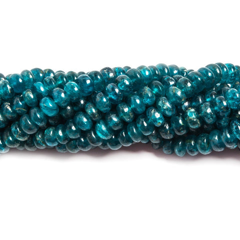 Attractive 4-5mm Neon Blue Apatite plain rondelle beads 16 inches 143 pieces - Buy From The Bead Traders Online Store.