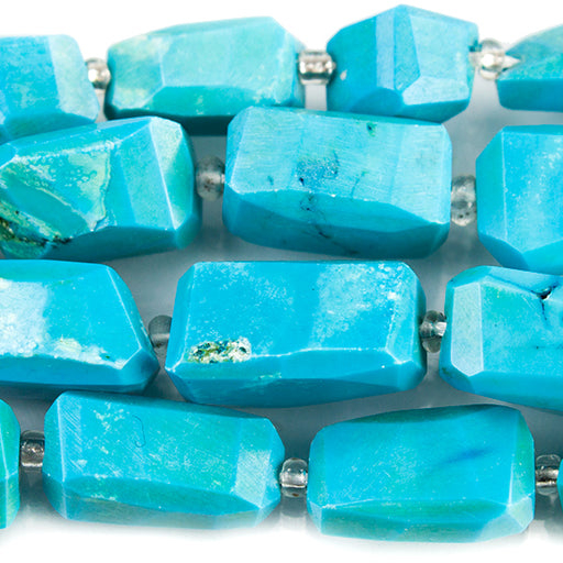 Turquoise Howlite Faceted Nugget Beads 15 inches 24 pieces