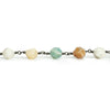 8x7mm Amazonite Star Cut Faceted Round Black Gold Chain by the Foot 20 Pieces