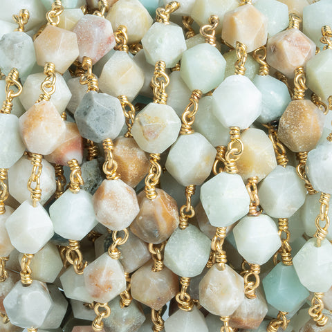 8x7mm Amazonite Star Cut Faceted Round Gold Chain by the Foot 20 Pieces