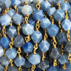 8x7mm Angelite Star Cut Faceted Round Gold Chain by the Foot 21 Pieces