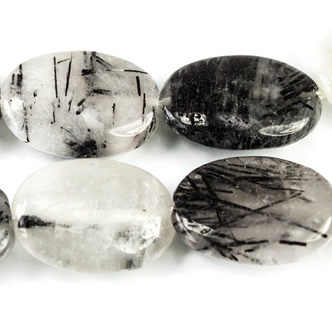 17-18mm Black Tourmalinated Milky Quartz Plain Oval Beads 15 inch 21 pieces