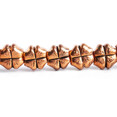 Copper 4 Leafed Clover Design Beads 8 inch 18 pieces