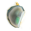 40x32mm-60x46mm Gold Leafed Apple Green Agate Slice Bailed Pendant 1 Piece