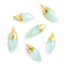 23x11mm-26x11mm Gold Leafed Seafoam Blue Chalcedony Faceted Cone Pendant 1 Piece