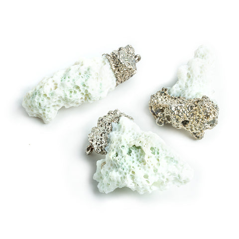 30x12mm Silver Leafed White Coral Pendants - Lot of 3