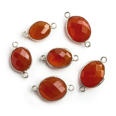 Silver Bezeled Carnelian Faceted Oval Connector 1 Piece
