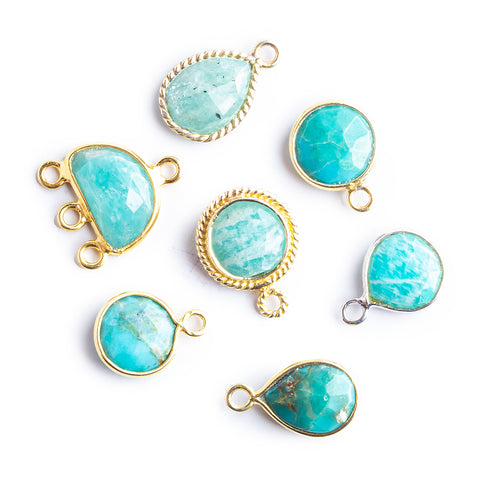 Gold Bezeled Blue Focal Beads - Lot of 7