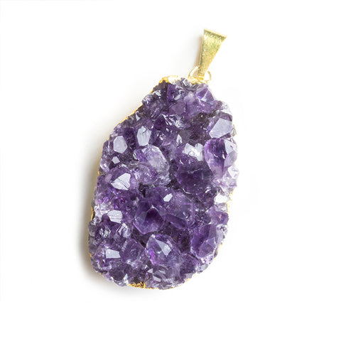 Gold Leafed Amethyst Natural Crystals Focal Pendant 1 Piece