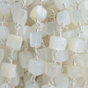 White Moonstone Plain Cube Silver Chain by the Foot 23 pieces
