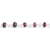 Matte Garnet Plain Rondelle Silver Chain by the Foot 37 pieces