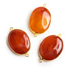 Vermeil Bezeled Carnelian Oval Connector Bead 1 Piece