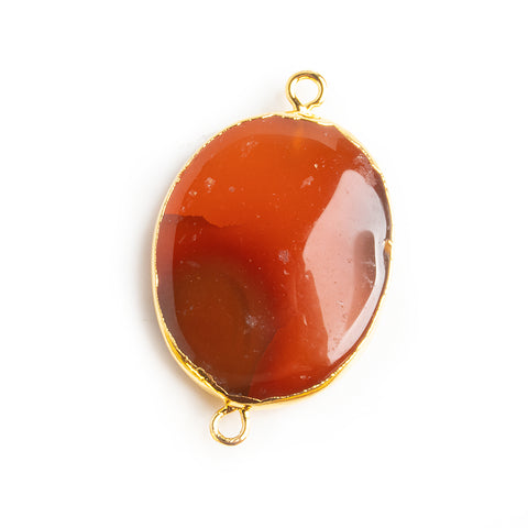 Gold Leafed Carnelian Oval Connector Bead 1 Piece