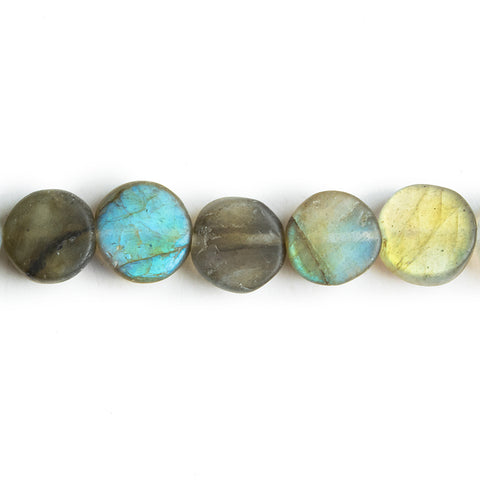 Matte Labradorite Flat Coin Beads 7.5 inch 25 pieces