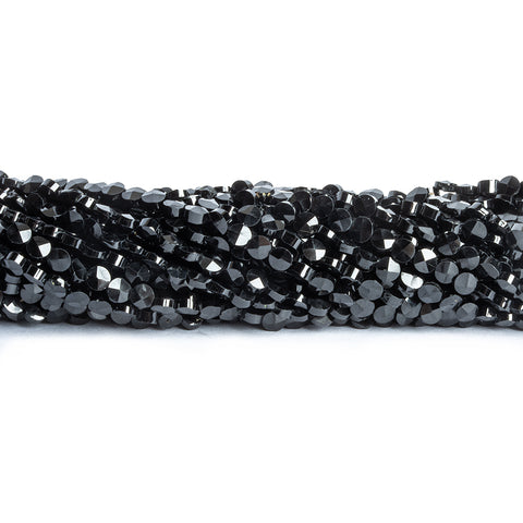 3mm Black Spinel Faceted Coin Beads 14 inch 125 pieces