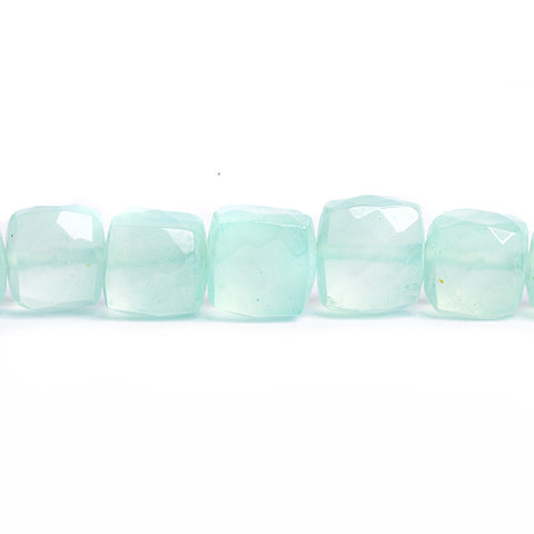 Seafood Blue Chalcedony Faceted Cube Beads 8 inch 30 pieces