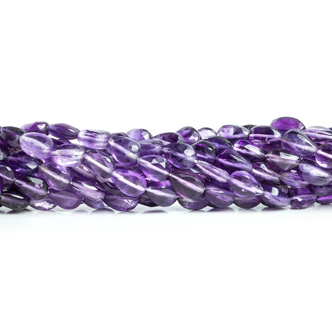 6.5x5mm-7.5x5mm Amethyst Straight Drilled Faceted Pear Beads 13 inch 50 pieces