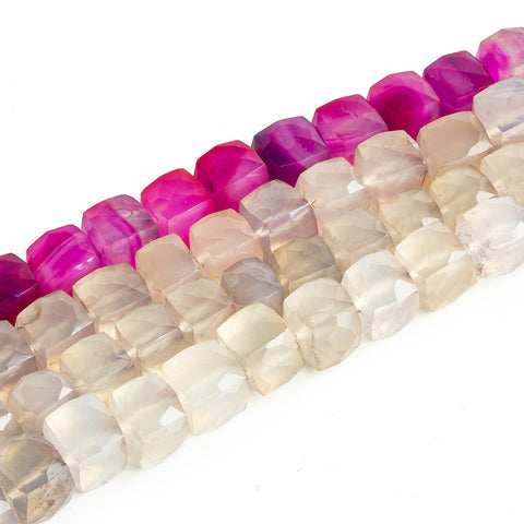 Chalcedony Faceted Cube Beads - Lot of 4