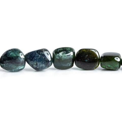 10x10mm-14.5x10mm Green Tourmaline Plain Nugget Beads 16 inch 32 pieces