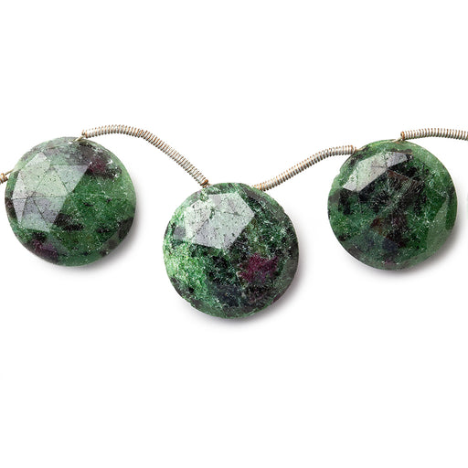 "Ruby in Zoisite Beads Top Drilled Faceted 15x17mm dia Coins, 8"" length, 8 pieces"