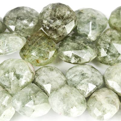 "Moss Aquamarine Beads Faceted 10x10-12x12mm Hearts, 8"" length, 38 pcs"