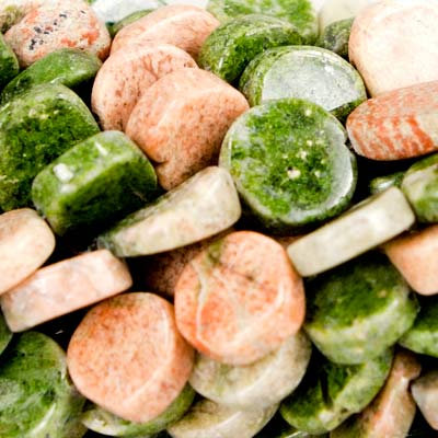 8mm Unakite Plain Coin Beads, 14 inch