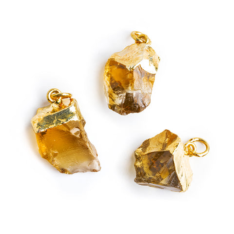 Gold Leafed Citrine Natural Crystal Focal Pendant 1 piece