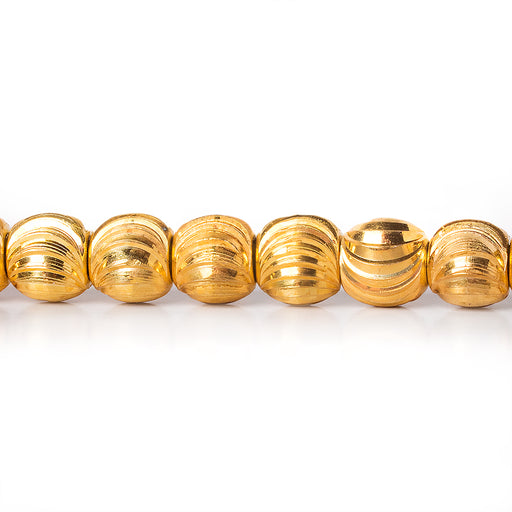 22kt Gold Plated Brass Bead Round Shiny with Curved Grooves 5x6m