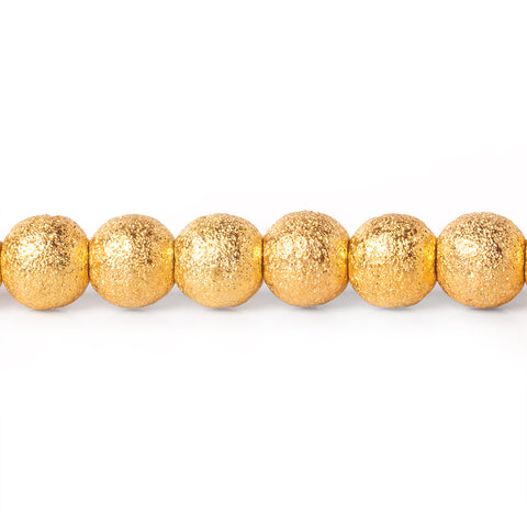 "22kt Gold Plated Brass Round 6mm Stardust Bead, 8"" length, 37 pcs"