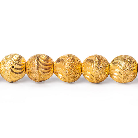 8mm 22kt Gold Plated Brass Beads Scallop Diamond Cut Rounds Beads, 8 inch, 28 beads