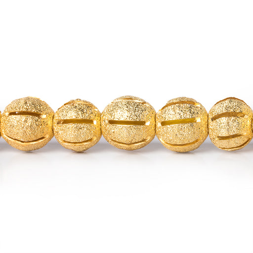 8mm 22kt Gold Plated Brass Stardust Striped Round Beads, 8 inch, 28 beads